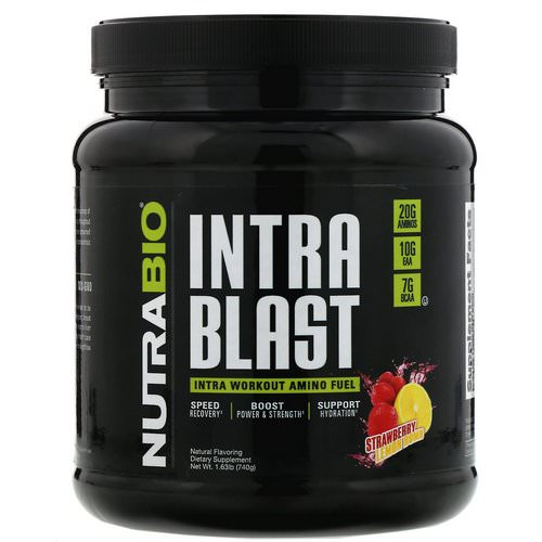 NutraBio Labs, Intra Blast, Intra Workout Amino Fuel, Strawberry Lemon Bomb, 1.63 lb (740 g) فوائد