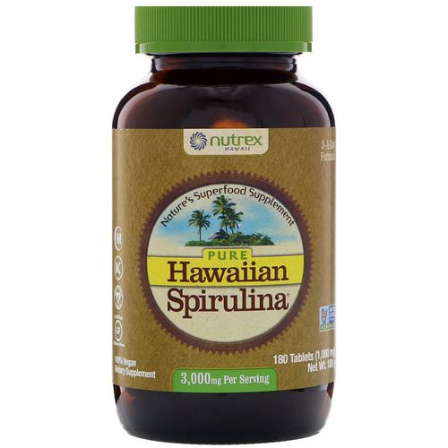 Nutrex Hawaii, Pure Hawaiian Spirulina, 3,000 mg, 180 Tablets فوائد