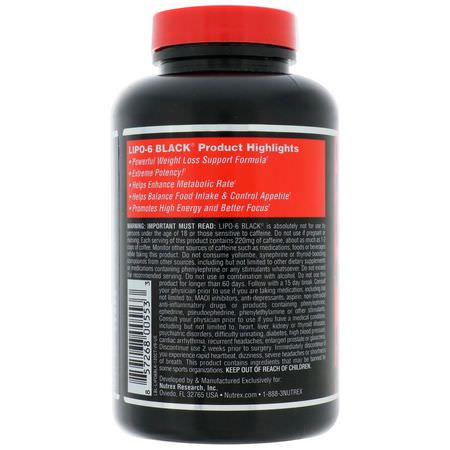 Nutrex Research, Lipo-6 Black, Extreme Potency, Weight Loss, 120 Black-Caps:حرق الده,ن, النظام الغذائي