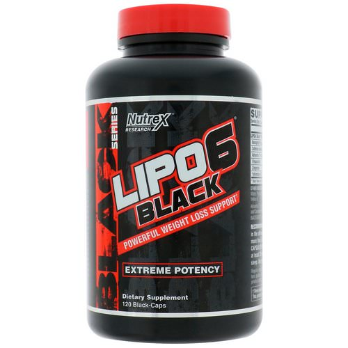Nutrex Research, Lipo-6 Black, Extreme Potency, Weight Loss, 120 Black-Caps فوائد