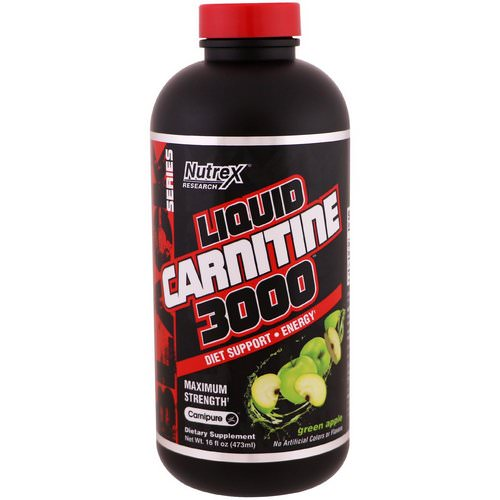 Nutrex Research, Liquid Carnitine 3000, Green Apple, 16 fl oz (473 ml) فوائد
