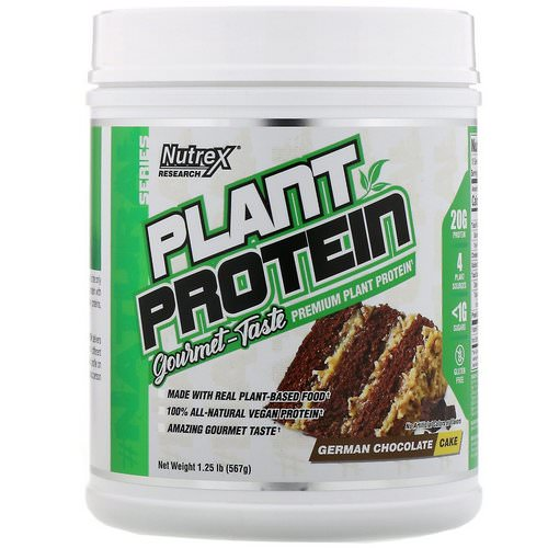 Nutrex Research, Natural Series, Plant Protein, German Chocolate Cake, 1.25 lb (567 g) فوائد