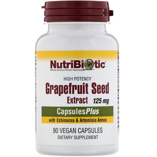 NutriBiotic, Grapefruit Seed Extract, With Echinacea & Artemisia Annua, High Potency, 125 mg, 90 Vegan Capsules فوائد