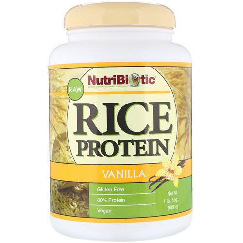 NutriBiotic, Raw Rice Protein, Vanilla, 1 lb 5 oz (600 g) فوائد