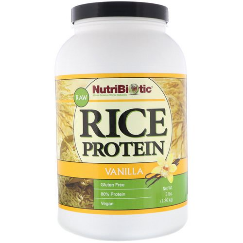 NutriBiotic, Raw Rice Protein, Vanilla, 3 lb (1.36 kg) فوائد