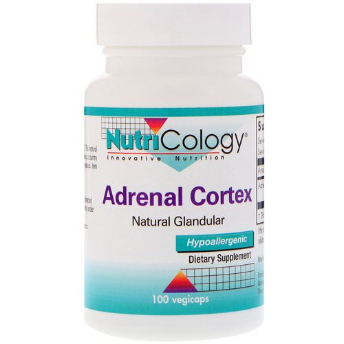 Nutricology, Adrenal Cortex, Natural Glandular, 100 Vegicaps فوائد