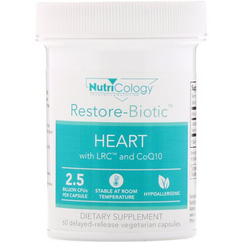 Nutricology, Restore-Biotic, Heart with LRC and CoQ10, 2.5 Billion CFU, 60 Delayed-Release Vegetarian Capsules فوائد
