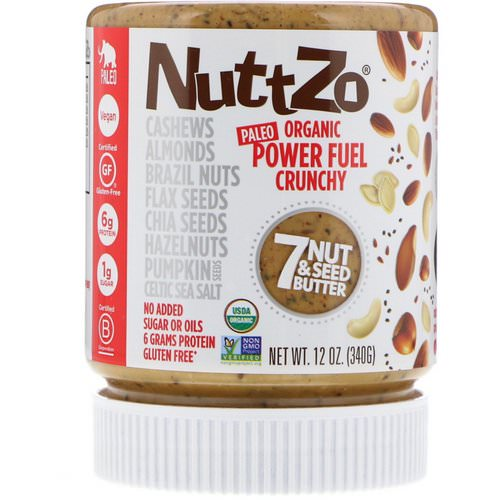 Nuttzo, Organic, Power Fuel, 7 Nut & Seed Butter, Crunchy, 12 oz (340 g) فوائد