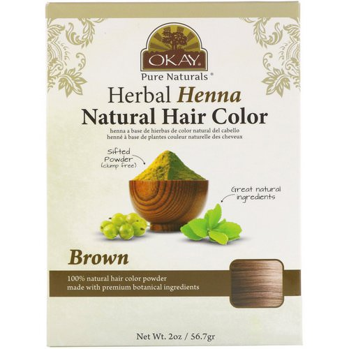 Okay, Herbal Henna Natural Hair Color, Brown, 2 oz (56.7 g) فوائد