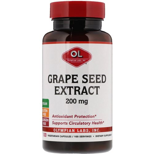 Olympian Labs, Grape Seed Extract, 200 mg, 100 Vegetarian Capsules فوائد
