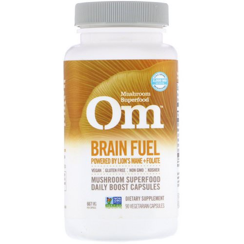 Organic Mushroom Nutrition, Brain Fuel, Powered by Lion's Mane + Folate, 667 mg, 90 Vegetarian Capsules فوائد