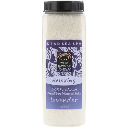 One with Nature, Dead Sea Mineral Salts, Relaxing, Lavender, 2 lbs (907 g) فوائد