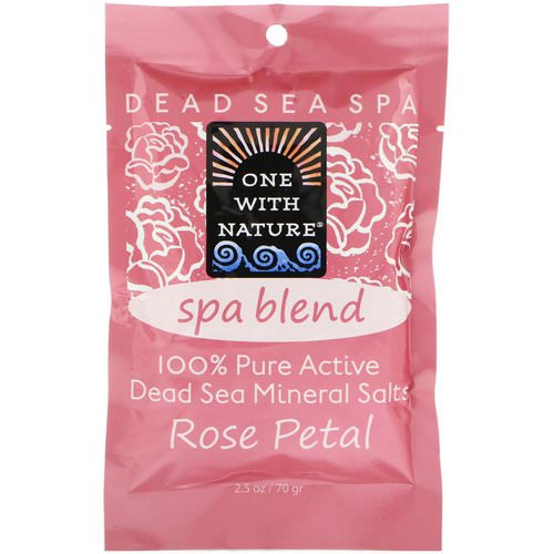 One with Nature, Dead Sea Spa, Mineral Salts, Spa Blend, Rose Petal, 2.5 oz (70 g) فوائد