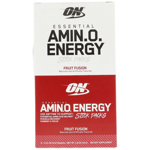 Optimum Nutrition, Essential Amin.O. Energy, Fruit Fusion, 6 Stick Packs, .31 oz (9 g) Each فوائد