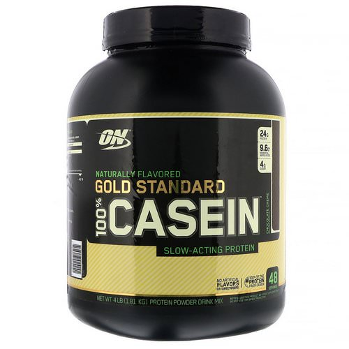 Optimum Nutrition, Gold Standard, 100% Casein, Naturally Flavored, Chocolate Creme, 4 lbs (1.81 kg) فوائد