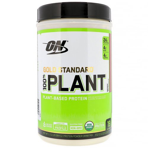 Optimum Nutrition, Gold Standard, 100% Plant-Based Protein, Berry, 1.51 lb (684 g) فوائد