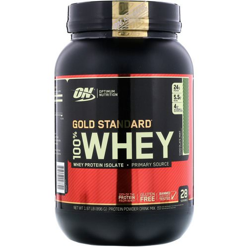 Optimum Nutrition, Gold Standard, 100% Whey, Chocolate Mint, 1.97 lb (896 g) فوائد