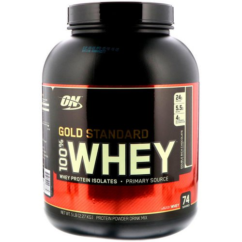 Optimum Nutrition, Gold Standard, 100% Whey, Double Rich Chocolate, 5 lbs (2.27 kg) فوائد