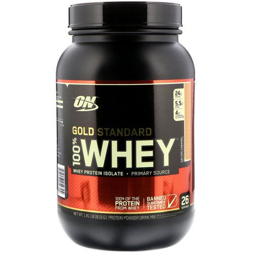 Optimum Nutrition, Gold Standard, 100% Whey, Salted Caramel, 1.81 lbs (819 g) فوائد