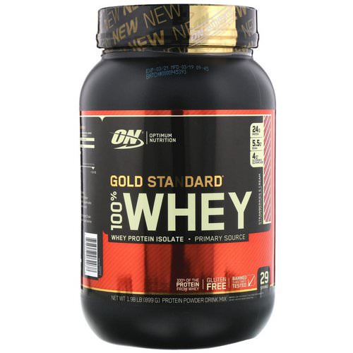 Optimum Nutrition, Gold Standard, 100% Whey, Strawberries & Cream, 1.98 lb (899 g) فوائد