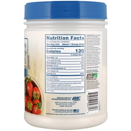 Optimum Nutrition, Greek Yogurt, Protein Smoothie, Strawberry, 1.02 lb (462 g):البر,تين, التغذية الرياضية