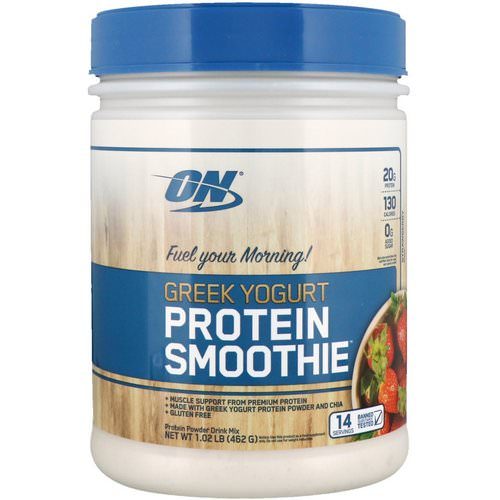 Optimum Nutrition, Greek Yogurt, Protein Smoothie, Strawberry, 1.02 lb (462 g) فوائد