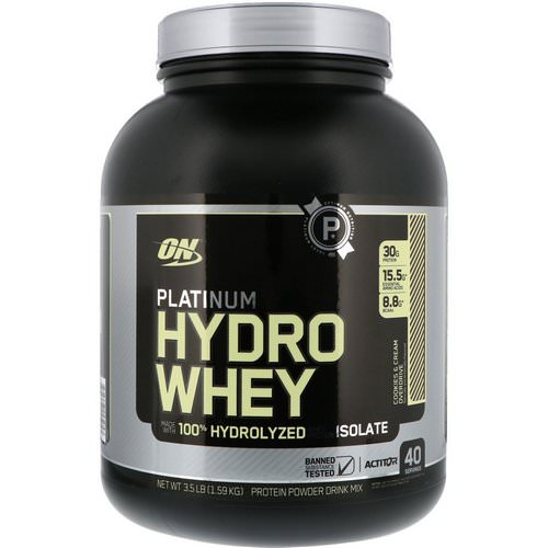 Optimum Nutrition, Platinum Hydro Whey, Cookies & Cream Overdrive, 3.5 lbs (1.59 kg) فوائد