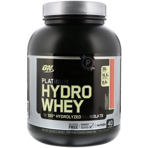 Optimum Nutrition, Platinum Hydro Whey, Supercharged Strawberry, 3.5 lbs (1,59 kg) فوائد