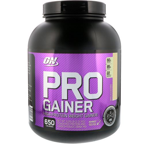 Optimum Nutrition, Pro Gainer, High-Protein Weight Gainer, Vanilla Custard, 5.09 lbs (2.31 kg) فوائد