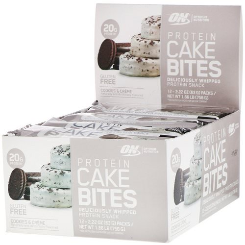 Optimum Nutrition, Protein Cake Bites, Cookies & Cream, 12 Bars, 2.22 oz (63 g) Each فوائد