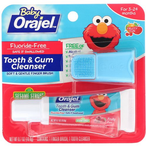 Orajel, Elmo Tooth & Gum Cleanser, 3-24 Months, Fluoride-Free, Fruity Fun, 0.7 oz (19.8 g) فوائد
