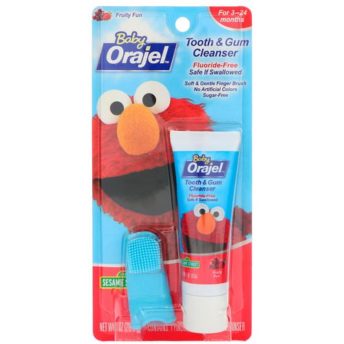 Orajel, Elmo Tooth & Gum Cleanser, Fruity Fun, 3-24 Months, 1 oz (28.3 g) فوائد