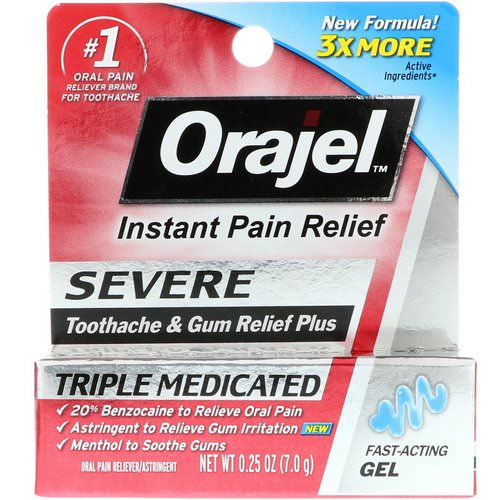 Orajel, Severe Toothache and Gum Relief Plus, Triple Medicated Gel, 0.25 oz (7.0 g) فوائد