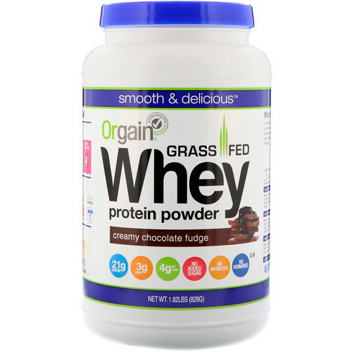 Orgain, Grass-Fed Whey Protein Powder, Creamy Chocolate Fudge, 1.82 lbs (828 g) فوائد