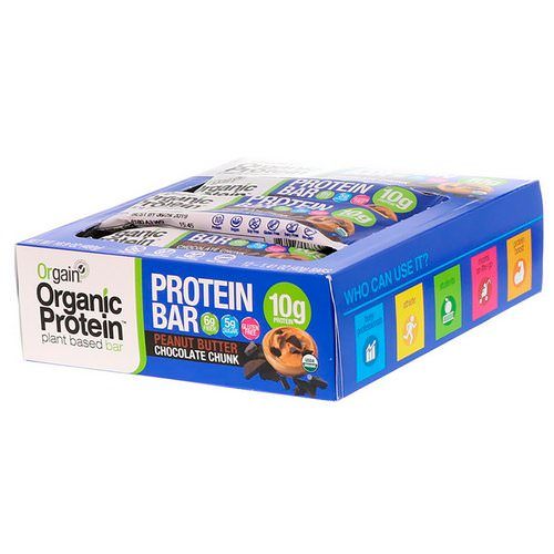 Orgain, Organic Plant-Based Protein Bar, Peanut Butter Chocolate Chunk, 12 Bars, 1.41 oz (40 g) Each فوائد