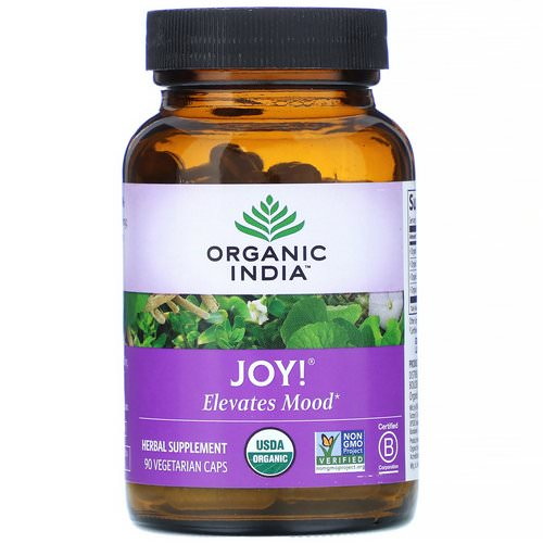 Organic India, Joy! Elevates Mood, 90 Vegetarian Caps فوائد