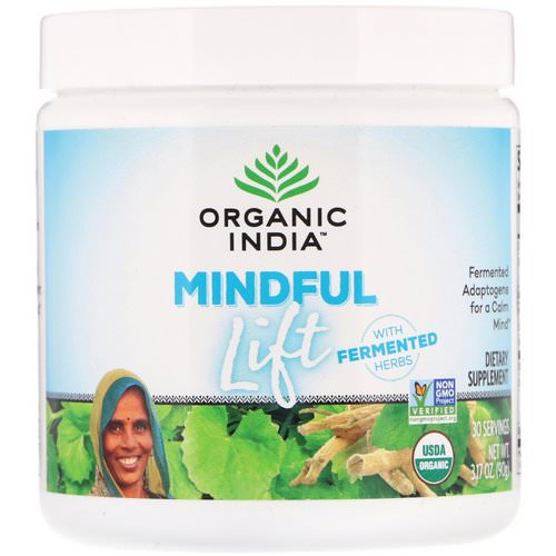 Organic India, Mindful Lift, Fermented Adaptogens, 3.17 oz (90 g) فوائد