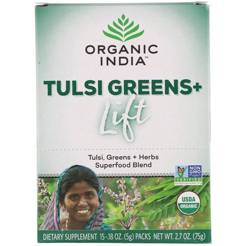 Organic India, Tulsi Greens+ Lift, Superfood Blend, 15 Packs, 0.18 oz (5 g) Each فوائد