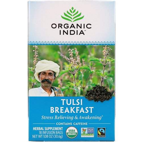 Organic India, Tulsi Tea, Breakfast, 18 Infusion Bags, 1.08 oz (30.6 g) فوائد