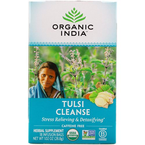 Organic India, Tulsi Tea, Cleanse, Caffeine-Free, 18 Infusion Bags, 1.02 oz (28.8 g) فوائد