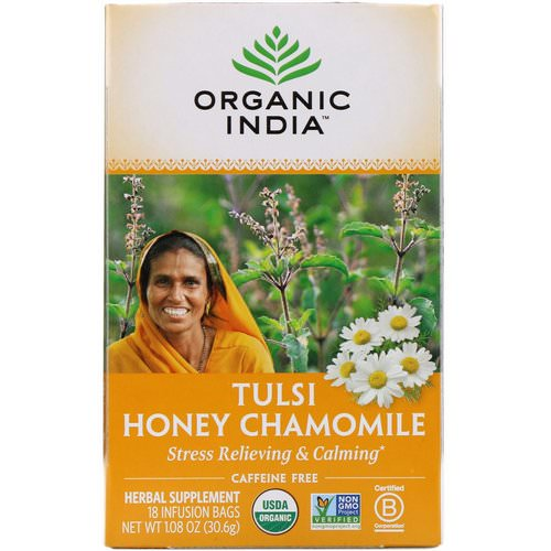 Organic India, Tulsi Tea, Honey Chamomile, Caffeine-Free, 18 Infusion Bags, 1.08 oz (30.6 g) فوائد