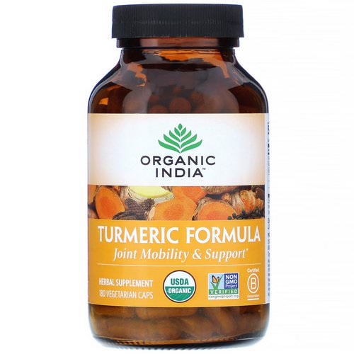 Organic India, Turmeric Formula, Joint Mobility & Support, 180 Vegetarian Caps فوائد