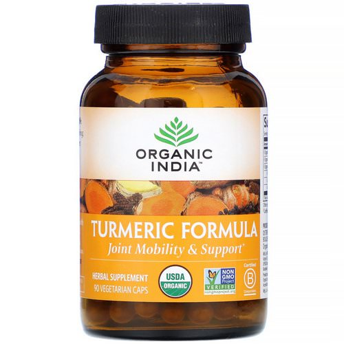 Organic India, Turmeric Formula, Joint Mobility & Support, 90 Vegetarian Caps فوائد