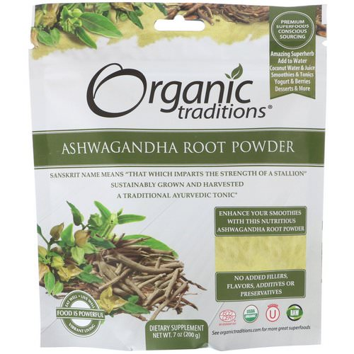 Organic Traditions, Ashwagandha Root Powder, 7 oz (200 g) فوائد