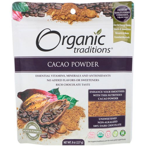 Organic Traditions, Cacao Powder, 8 oz (227 g) فوائد