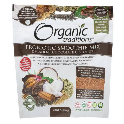 Organic Traditions, Probiotic Smoothie Mix, Decadent Chocolate Coconut, 7 oz (200 g) فوائد