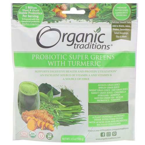 Organic Traditions, Probiotic Super Greens with Turmeric, 3.5 oz (100 g) فوائد