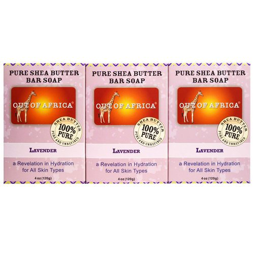 Out of Africa, Pure Shea Butter Bar Soap, Lavender, 3 Pack, 4 oz (120 g) Each فوائد