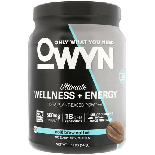 OWYN, Ultimate Wellness + Energy, 100% Plant-Based Powder, Cold Brew Coffee, 1.2 lb (546 g) فوائد