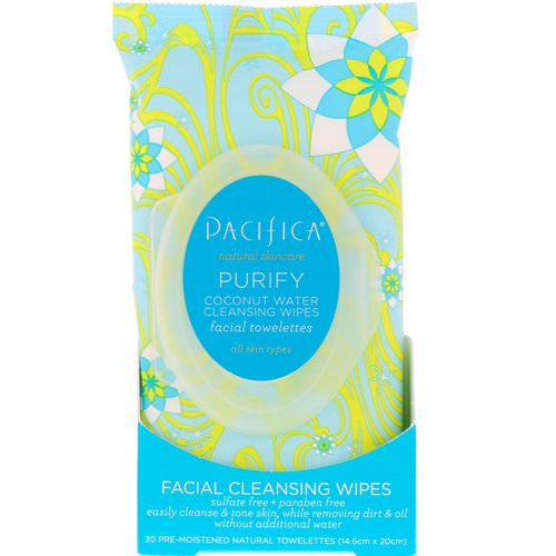 Pacifica, Purify Facial Cleansing Wipes, All Skin Types, 30 Pre-Moistened Natural Towelettes فوائد